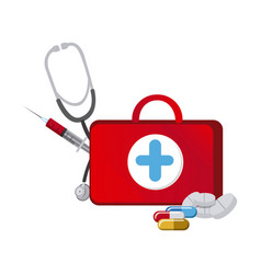 red suitcase health with stethoscope syringe and vector image vector image