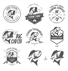Set of vintage fishing labels and badges vector image