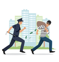 A policeman chasing a thief with stolen bag vector
