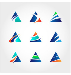 abstract triangle business logo collection vector image