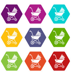 baby carriage retro icons set 9 vector image