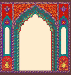background arch of res in the oriental style with vector image
