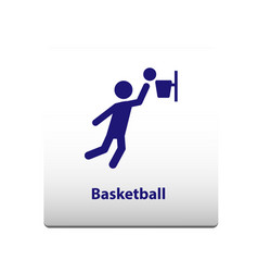 basketball sport symbol stickman solid icon vector image
