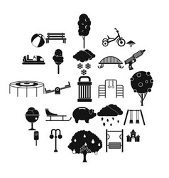 big park icons set simple style vector image