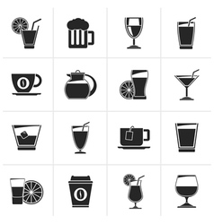 Black drinks and beverages icons vector image vector image