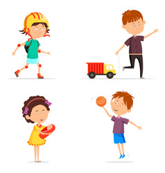 Boy with basketball ball and girl with baby doll vector