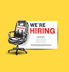 Business recruiting concept with office chair we vector