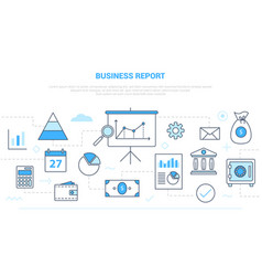 Business report concept with various icon line vector