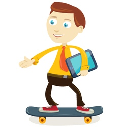 businessman skateboarding vector image
