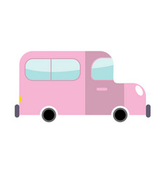 car pink isolated transport on white background vector image