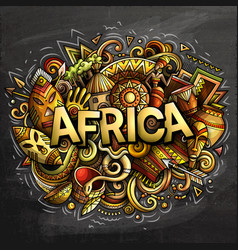 cartoon cute doodles africa word vector image