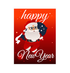 cartoon santa claus with present boxes bag vector image