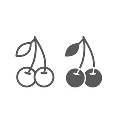Cherry line and glyph icon fruit and vitamin vector