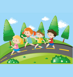 children running on the road vector image