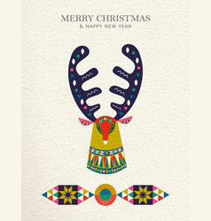 Christmas and new year reindeer folk art card vector