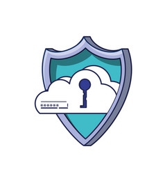 cloud computing with key in shield vector image