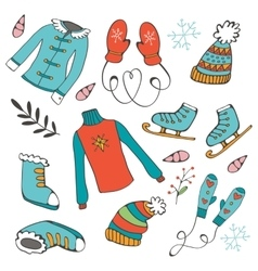 Colorful hand drawn winter collection vector