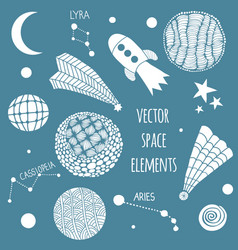 cosmic hand drawn elements vector image