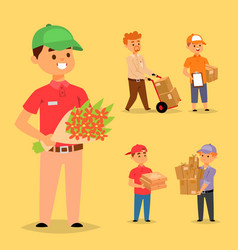 Delivery man boy service workers and vector