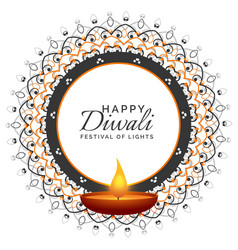 diwali festival decorative design with oil lamp vector image