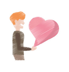 Drawing man with bubble heart speak vector