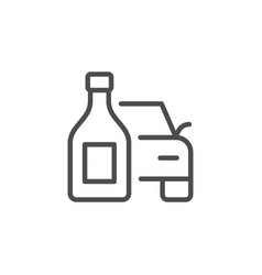 Drinking and driving line outline icon vector