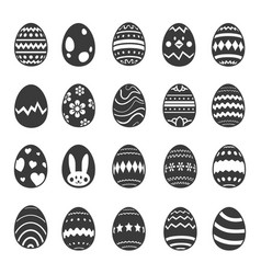 easter egg with decorated icon set vector image