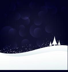 Eleagnt winter landscape scene with three trees vector