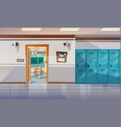 Empty school corridor with lockers hall open door vector