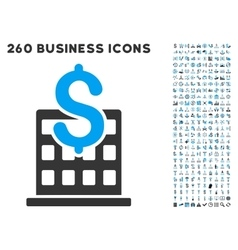 Financial company building icon with flat vector