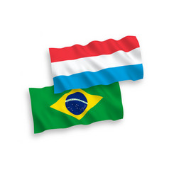 Flags brazil and luxembourg on a white vector