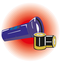 Flashlight with batteries eps10 vector