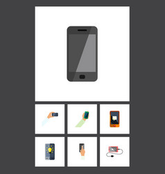 flat icon phone set of smartphone keep phone vector image