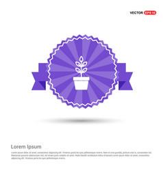 Flower pot icon - purple ribbon banner vector