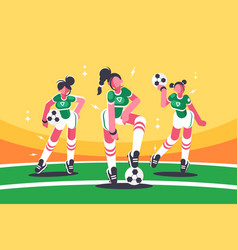 football woman team vector image