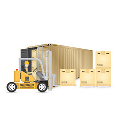 forklift cargo container vector image