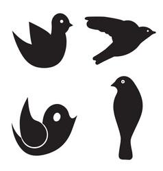 four birds set - black silhouette bird vector image