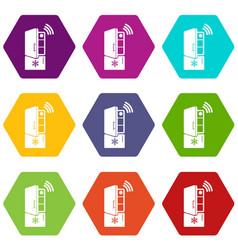 fridge icons set 9 vector image
