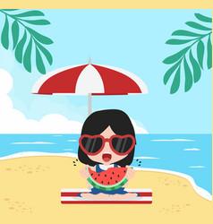 girl eat fresh watermelon bite with summer beach vector image