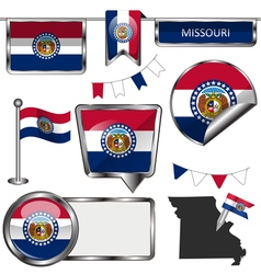 Glossy icons with Missourian flag vector image