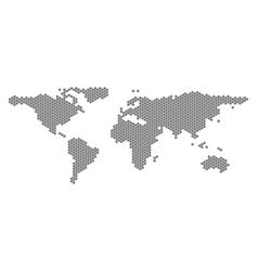 Gray hexagon world map vector
