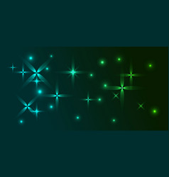 green background in the northern blue frosty stars vector image