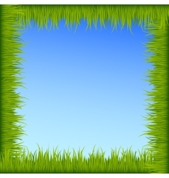 Green grass frame on blue sky background vector