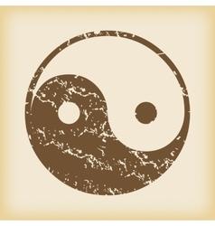 Grungy ying yang icon vector