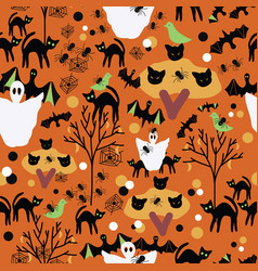 halloween orange hand drawn patter vector image