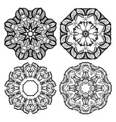 Hand-drawn mehendi ornamental elements and mandala vector