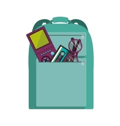 Hipster backpack icon vector