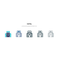 Hotel icon in different style two colored vector