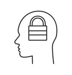 human head with closed padlock inside linear icon vector image