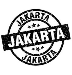 Jakarta black round grunge stamp vector